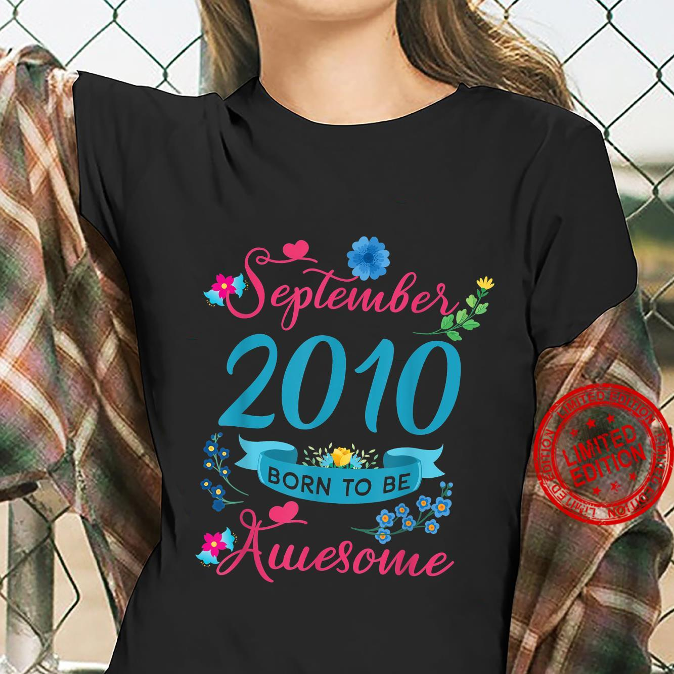 11th Birthday Floral Shirt For Girls Born In September 2010 Shirt ladies tee