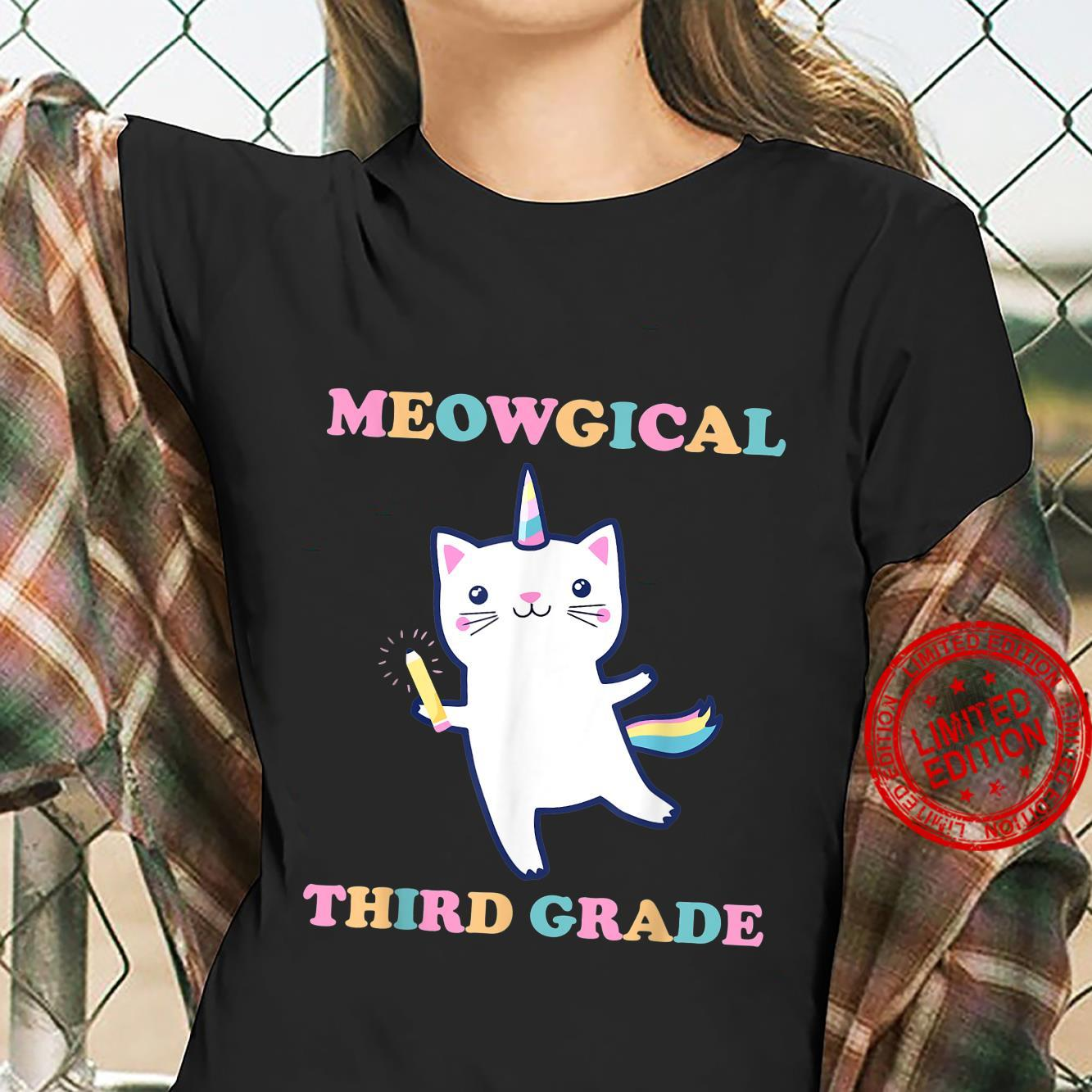 2021 Back To School Meowgical Third Grade Cat Unicorn Shirt ladies tee