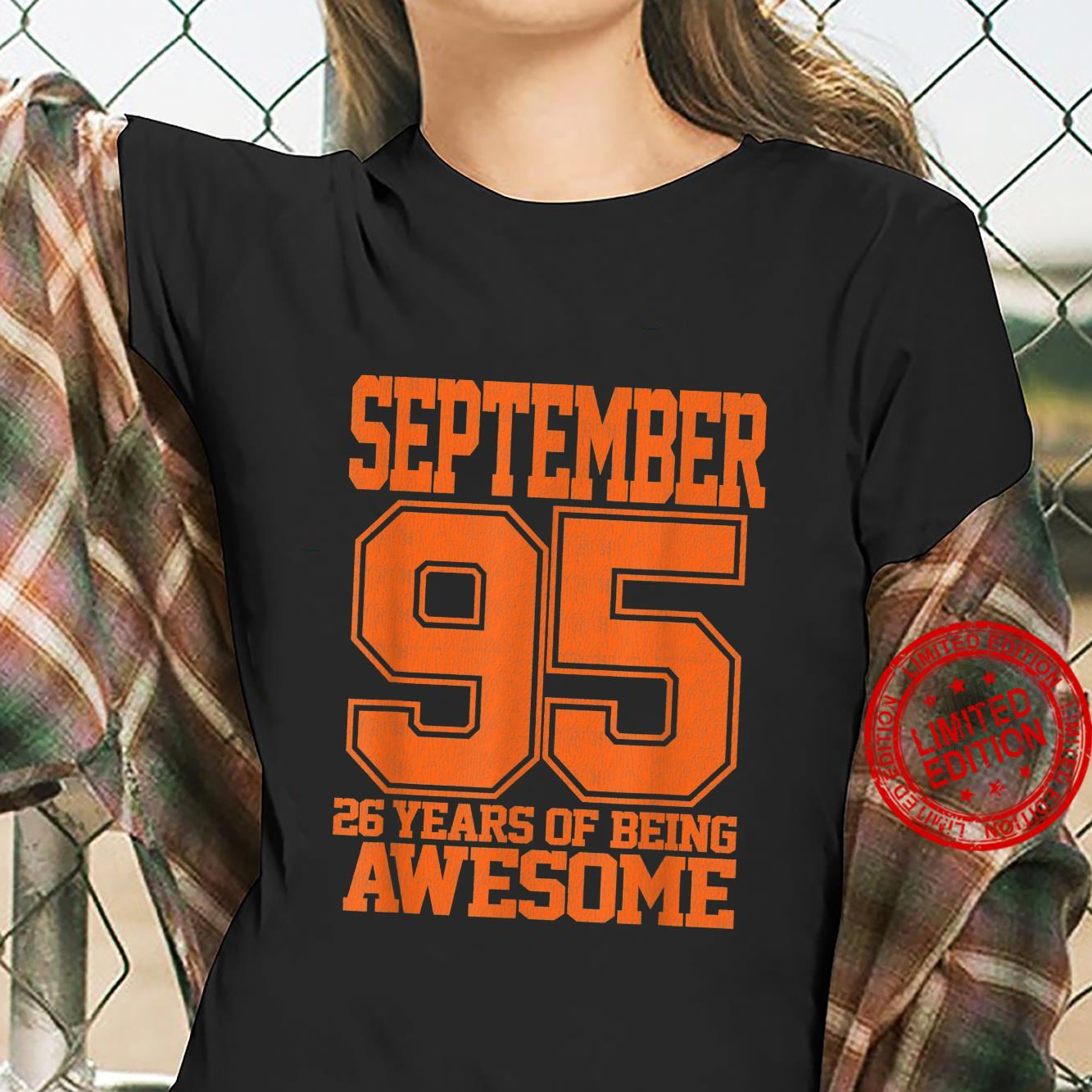 26th Bday Vintage September 1995 Awesome 26 Years Old Shirt ladies tee
