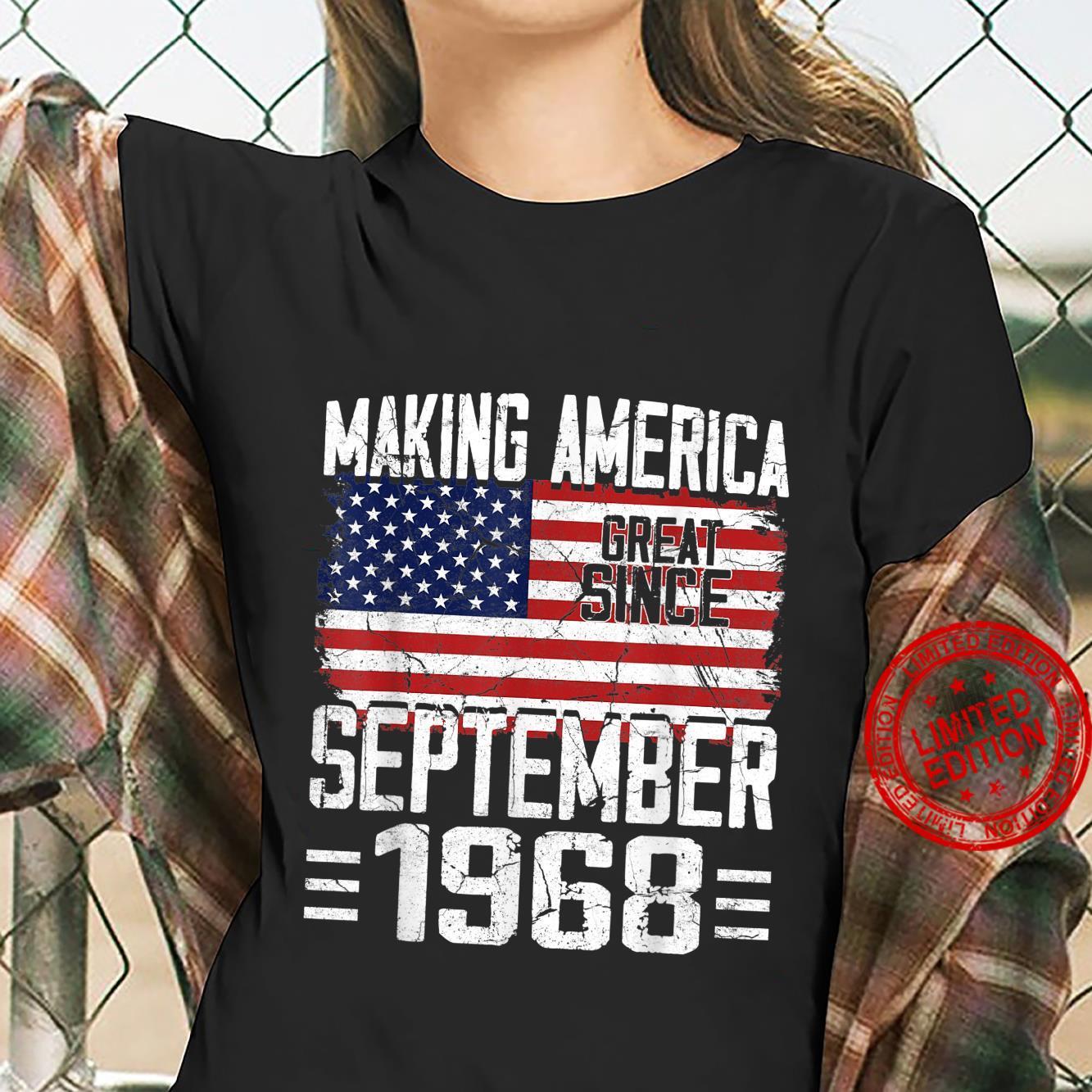 53rd Birthday September 1968 American Flag 53 Years Old Shirt ladies tee