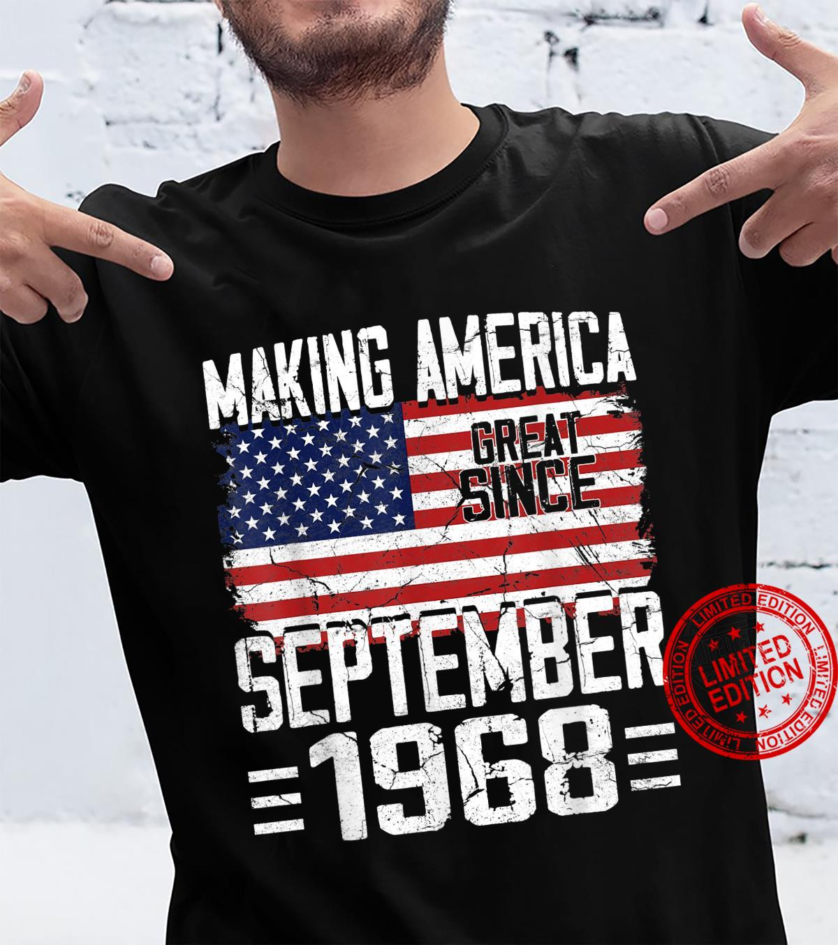 53rd Birthday September 1968 American Flag 53 Years Old Shirt
