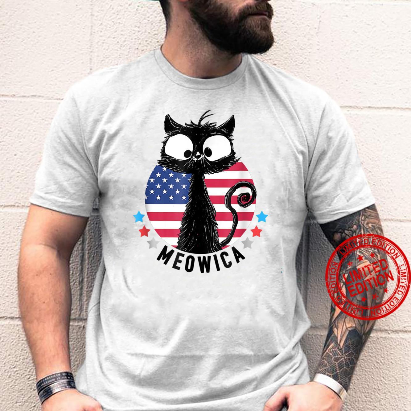 American Flag MEOWICA Cat Shirt 4th of July Cat Shirt