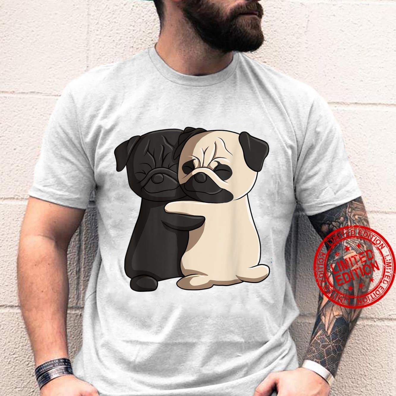 Cute Kawaii Dog Hugging Pug Shirt