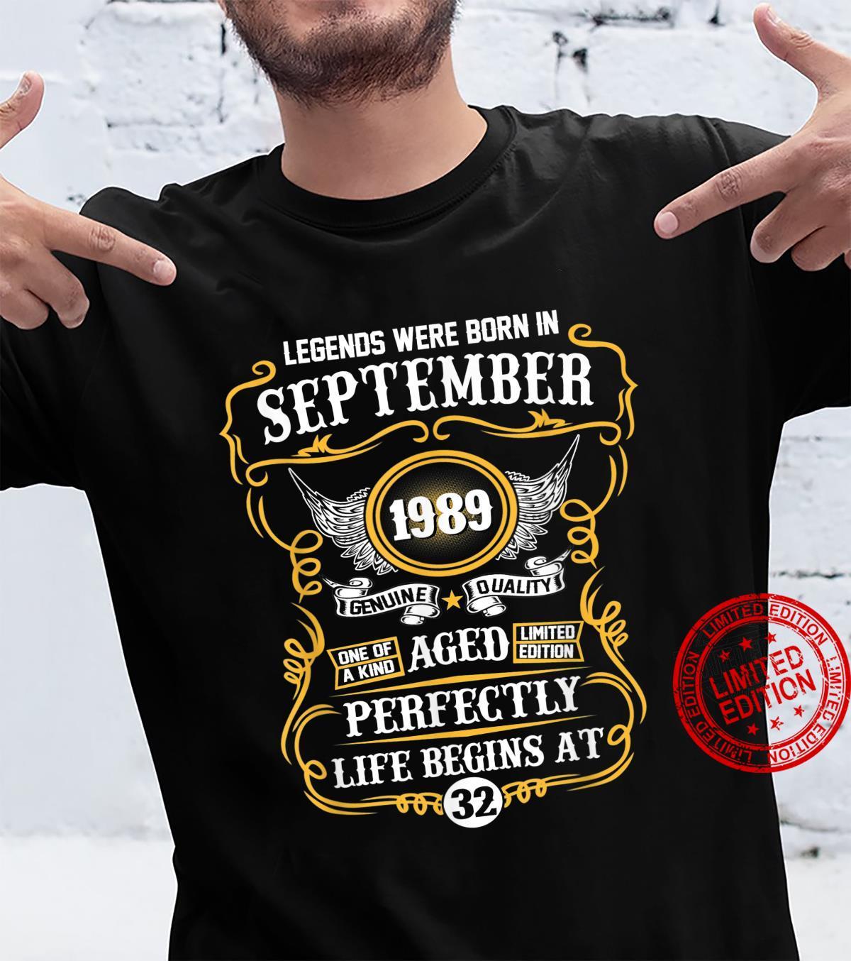 Legends Were Born In September 1989 32nd Birthday Shirt