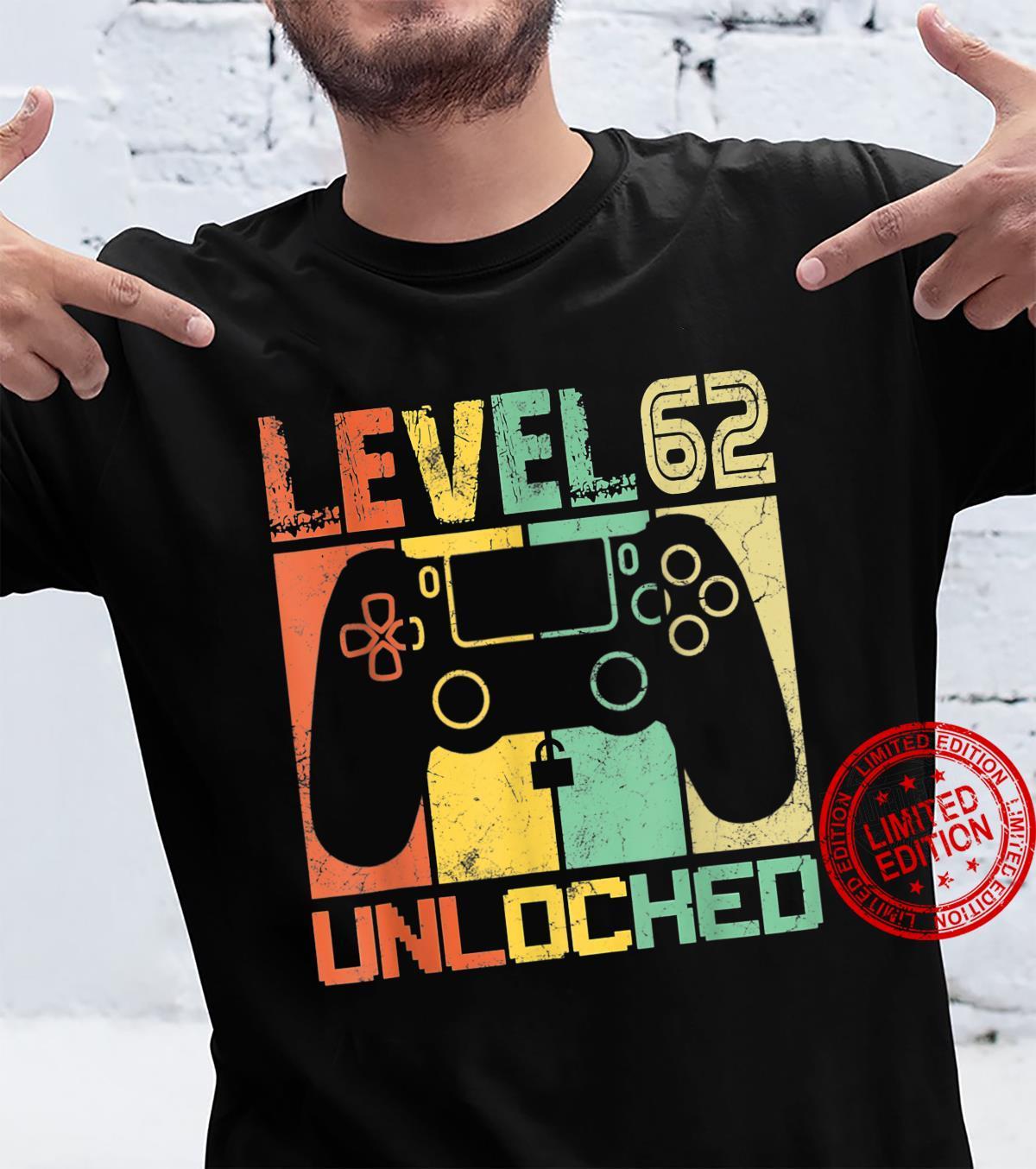 Level 62 Unlocked Shirt Video Gamer 62Th Birthday Shirt