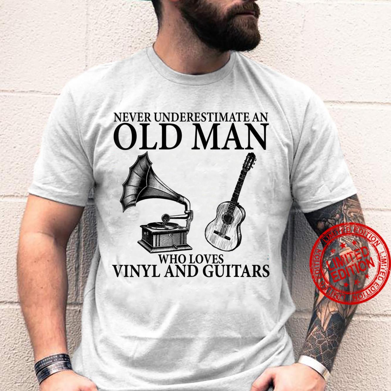 Old man Vinyl records & Guitar Apparel Shirt