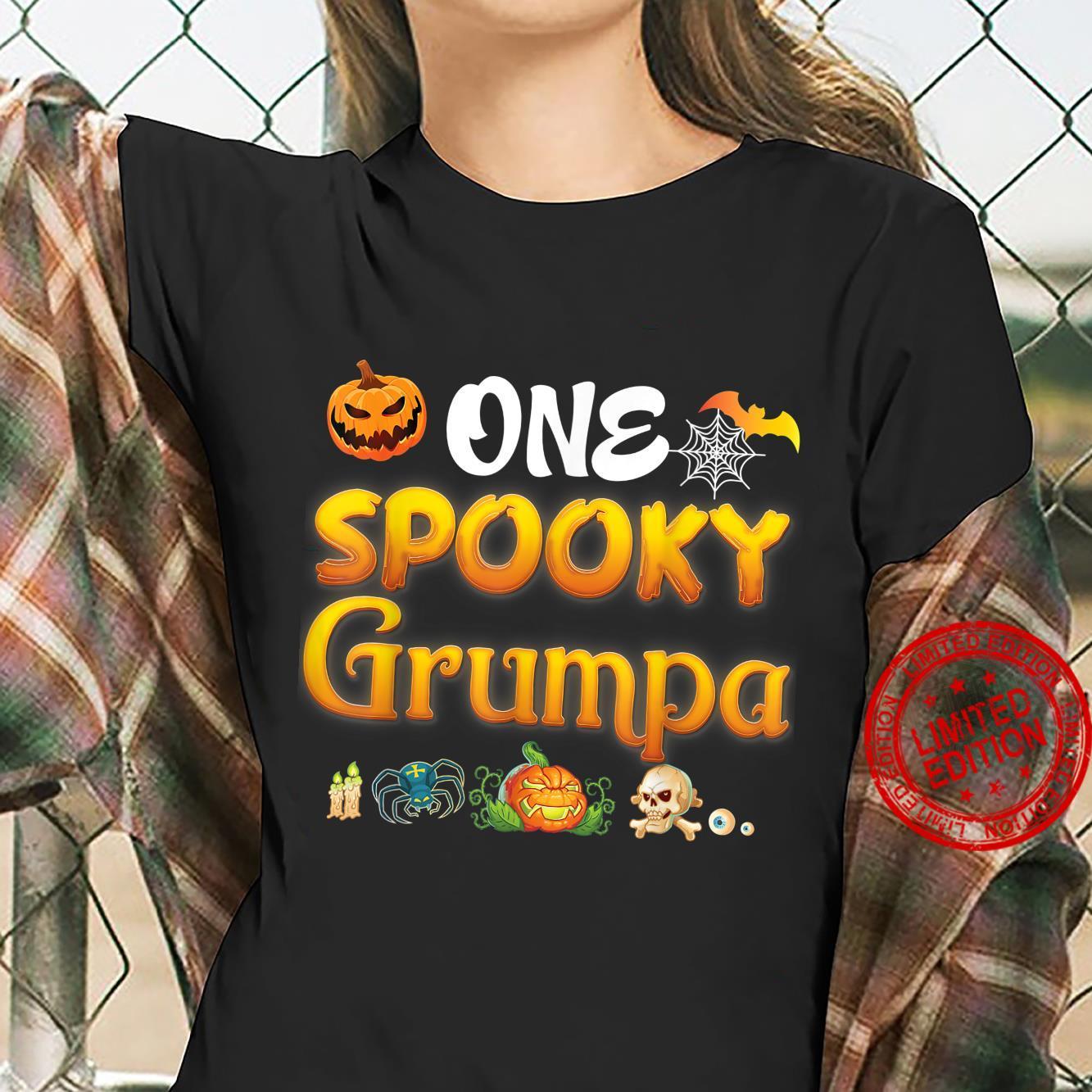 One Spooky Grumpa Scary Pumpkin Horor Halloween Ghost Creepy Shirt ladies tee
