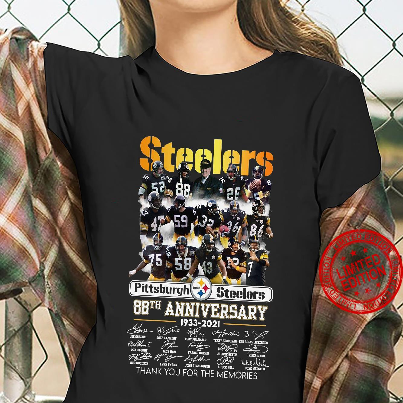 Steelers pittsburgh steelers 88th anniversary 1933 2021 thank you for the memories shirt ladies tee