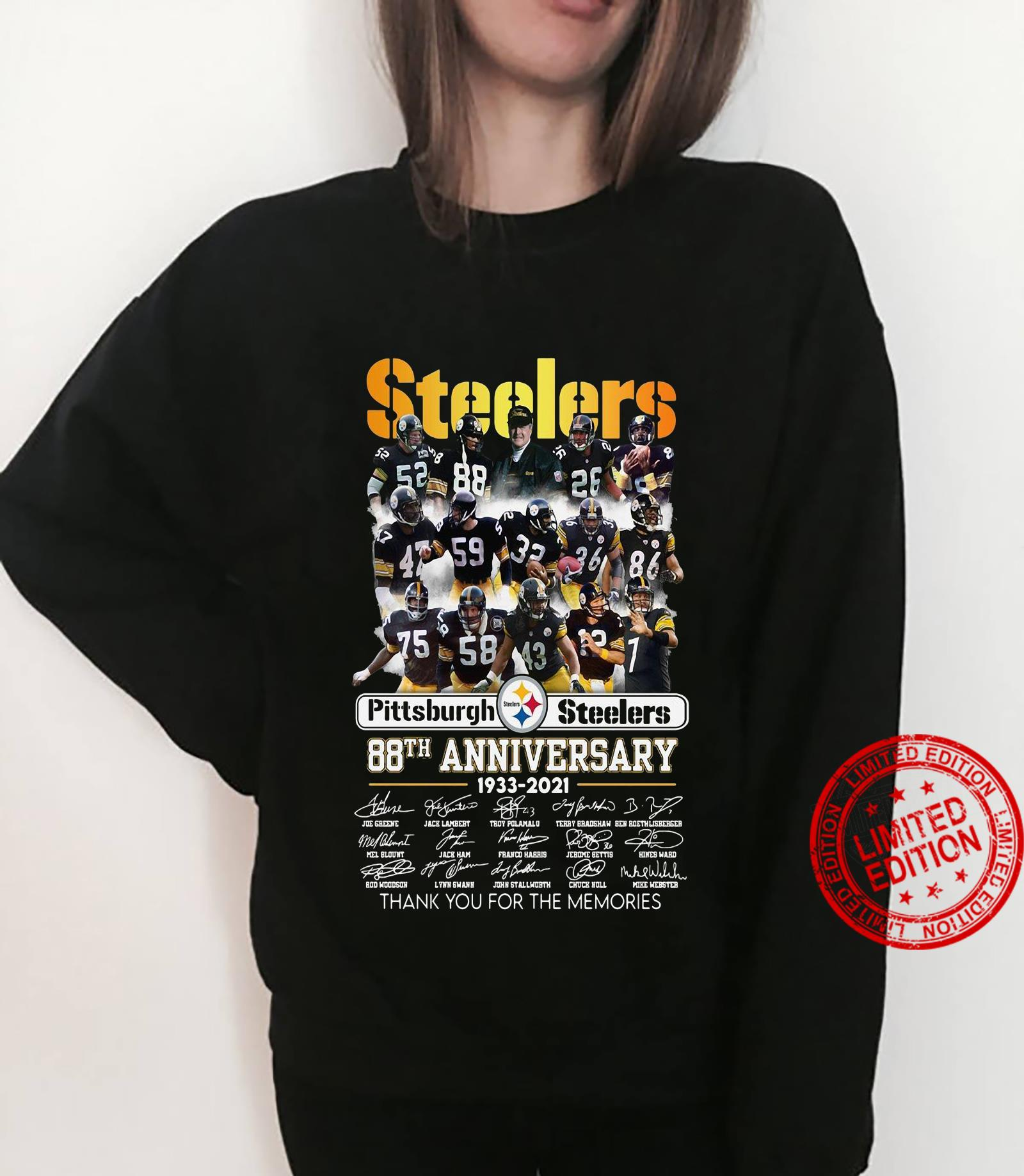 Steelers pittsburgh steelers 88th anniversary 1933 2021 thank you for the memories shirt sweater