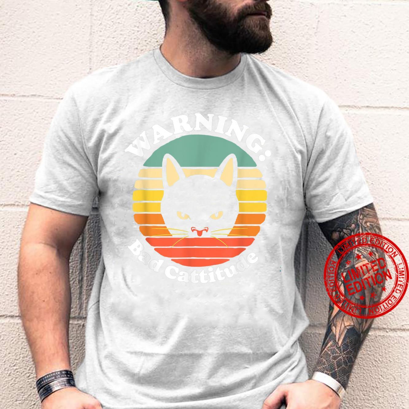 Warning Bad Cattitude Annoyed Cat Sunset Retro Vintage Shirt