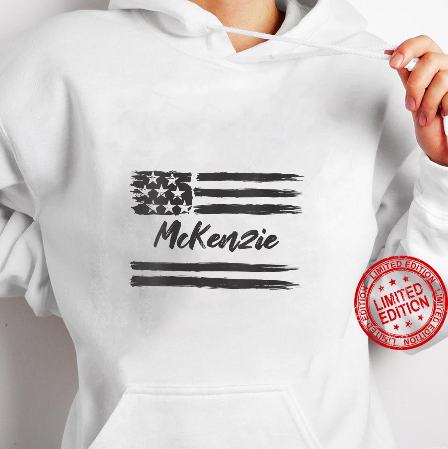 Womens McKenzie Personalized Name, Stars and Stripes, USA Flag Shirt hoodie