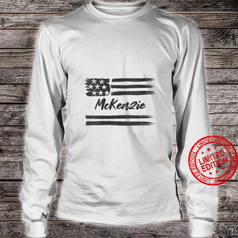 Womens McKenzie Personalized Name, Stars and Stripes, USA Flag Shirt long sleeved