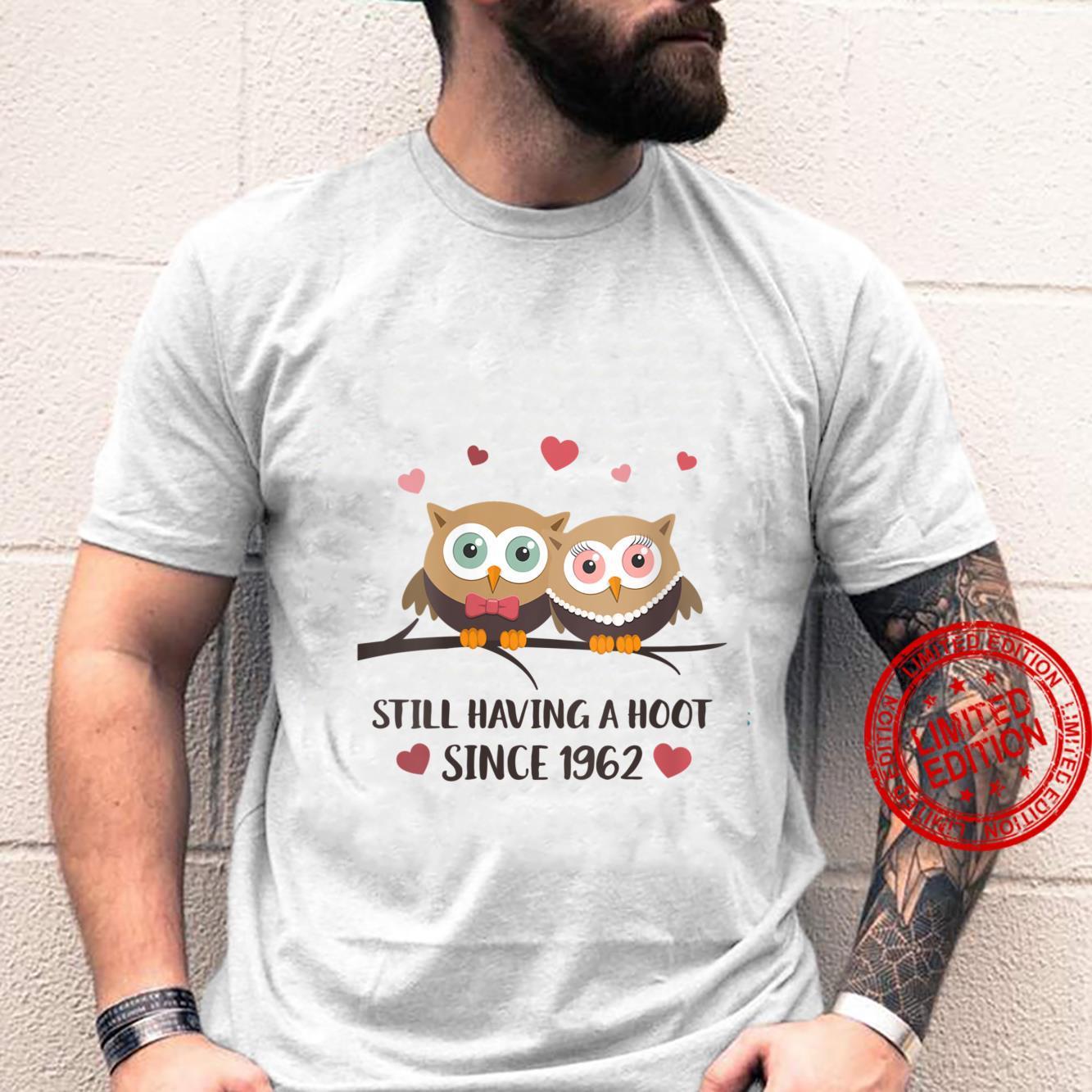 Womens Still having a hoot Since 1962 Owl wedding anniversary Shirt