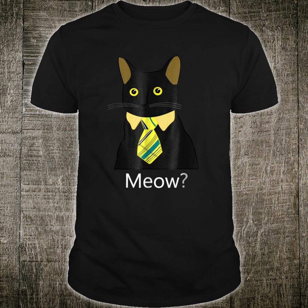 Black Business Cat Kitten with Yellow Tie Shirt
