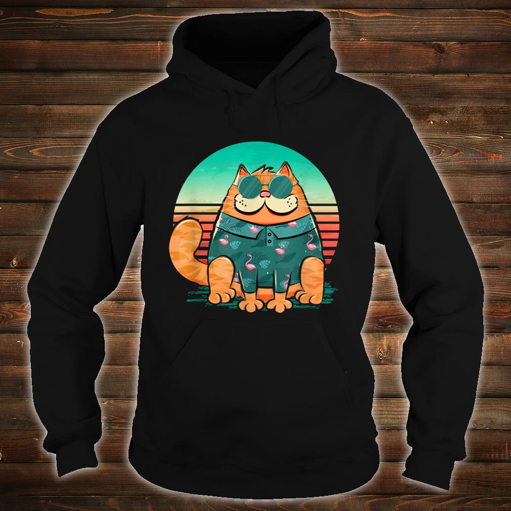 Cool cat wearing tropical pattern of flamingos retro style Shirt hoodie