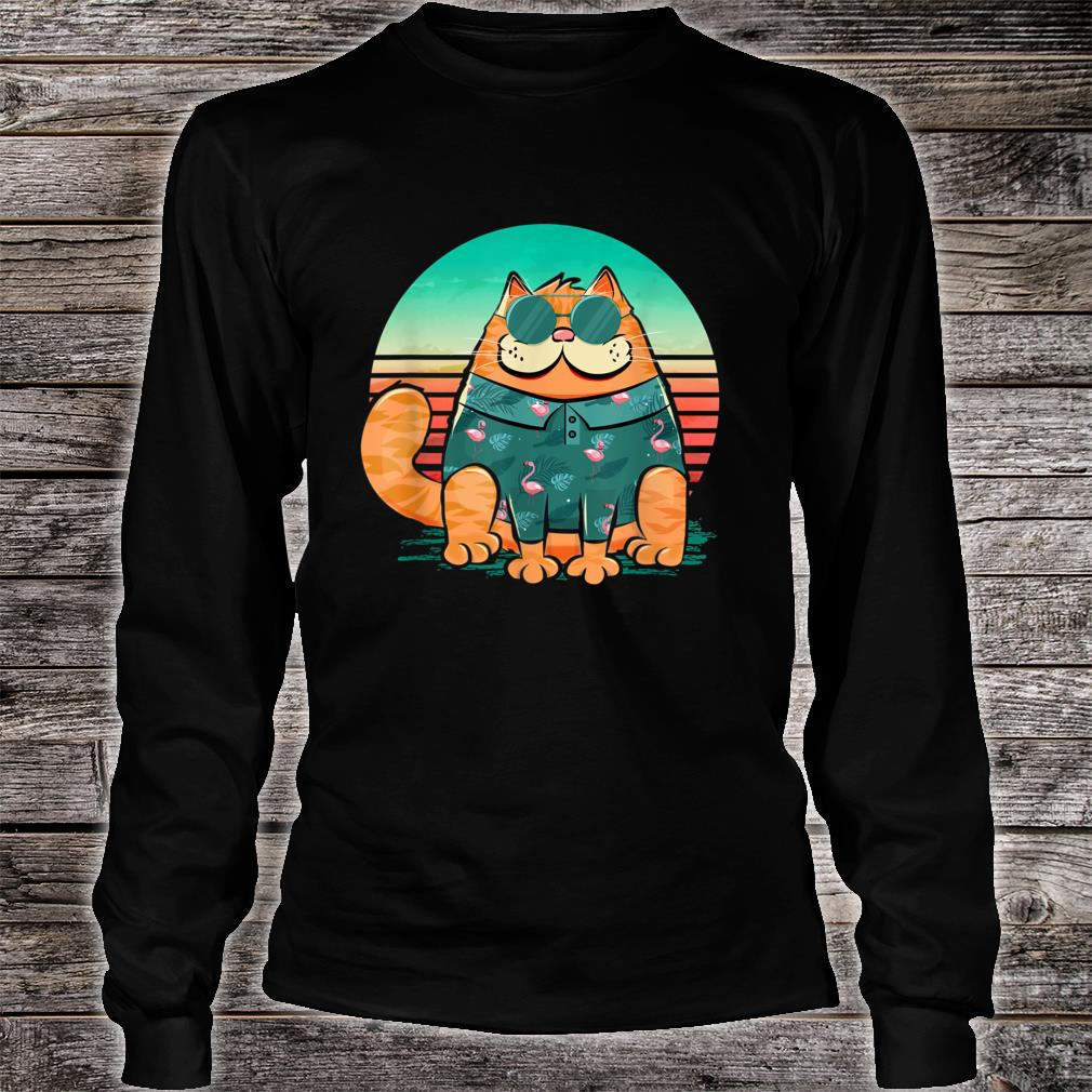 Cool cat wearing tropical pattern of flamingos retro style Shirt long sleeved