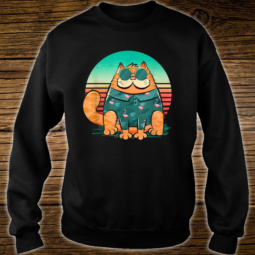Cool cat wearing tropical pattern of flamingos retro style Shirt sweater