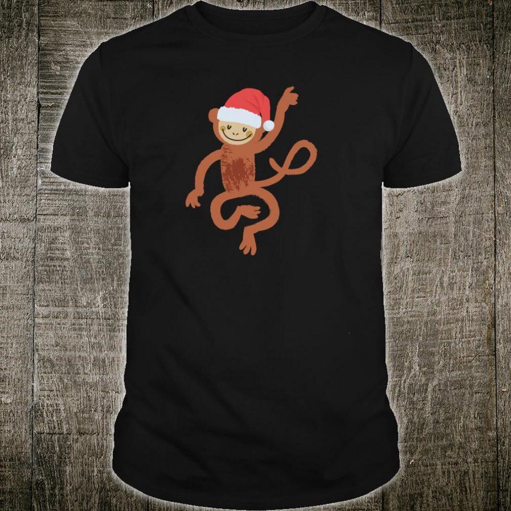 Cute Monkey Shirt Fun Santa Hat Image Christmas Shirt