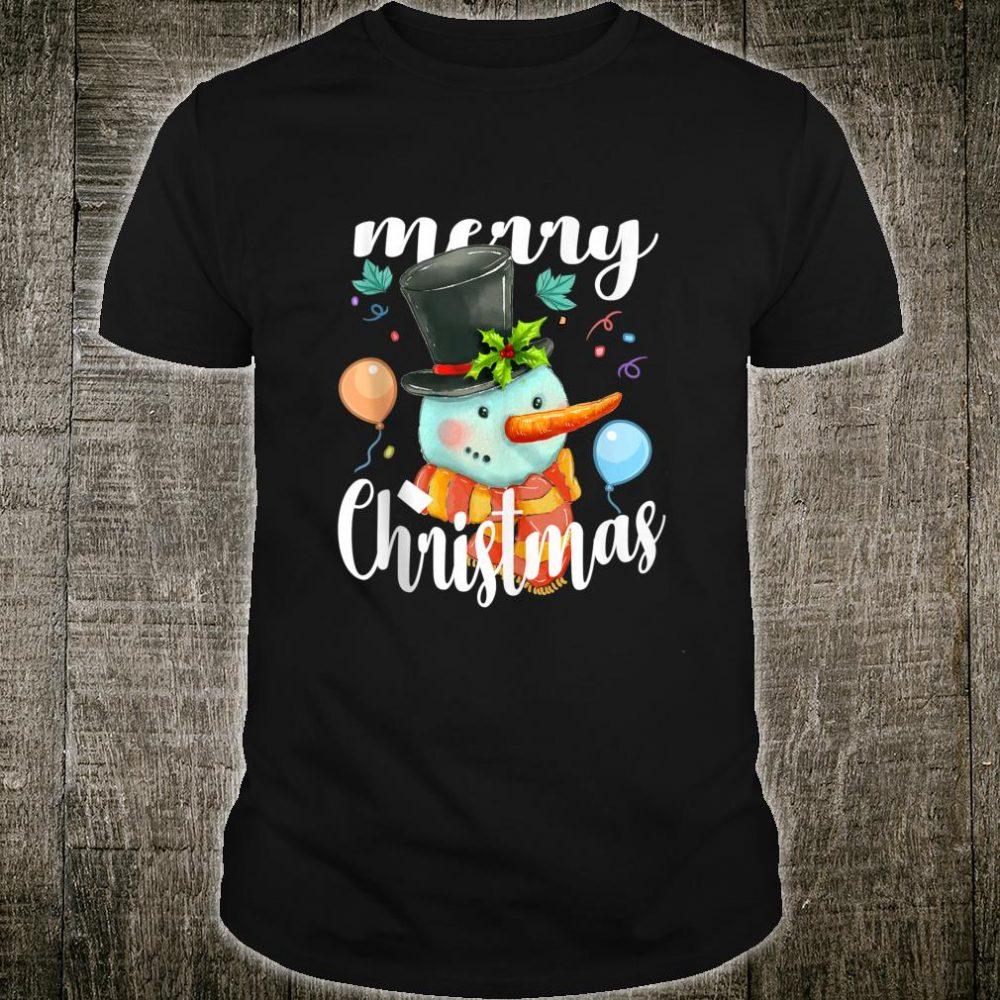 Cute Snowman Hat Merry Christmas Xmas Snowman Shirt