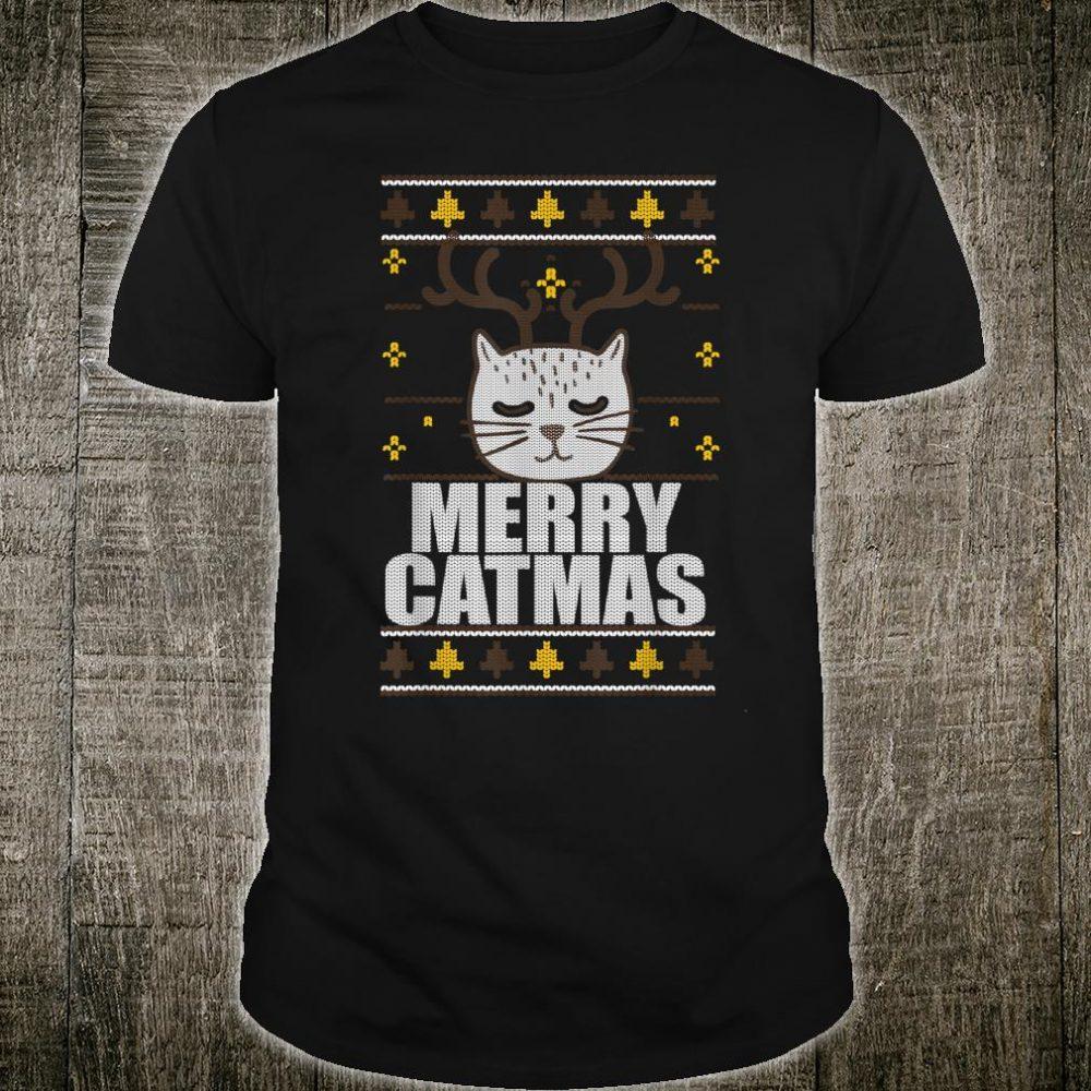 MERRY CATMAS Ugly Christmas Sweater Reindeer Cat Meme Shirt