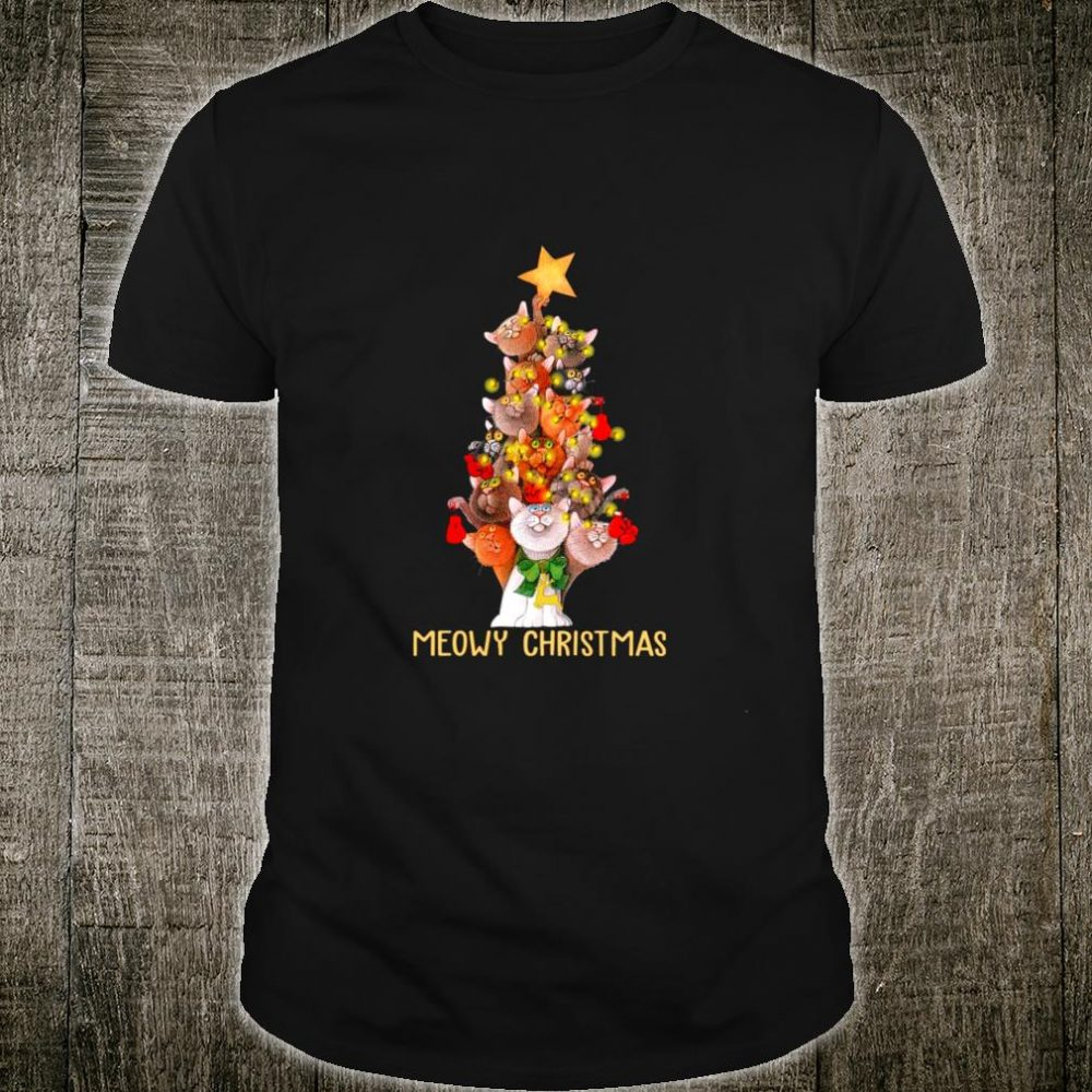 Meowy Xmas Cats Christmas Tree Lights Snow Kitten Shirt