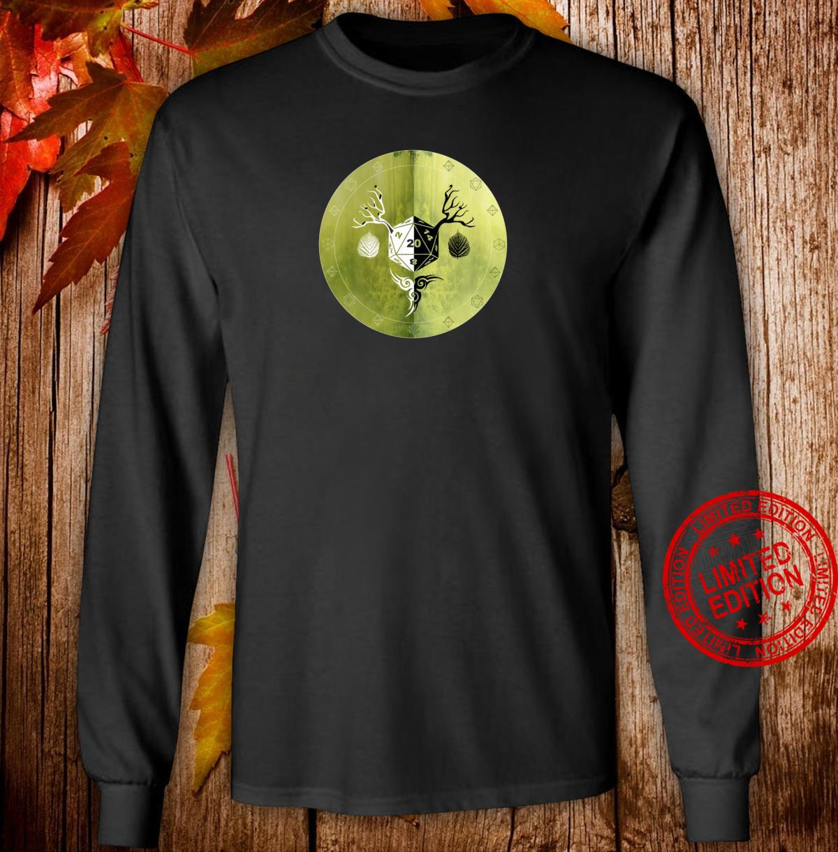 Natural Twenty Class Shields Mystical Polyhedral Game Dice Shirt long sleeved