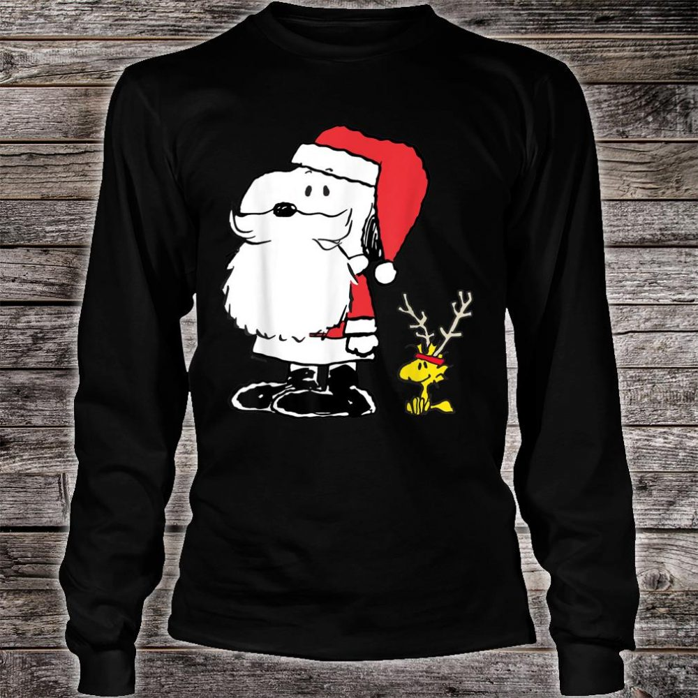 Peanuts Snoopy Woodstock Antlers Santa Shop Shirt long sleeved